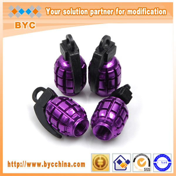 BYC Tire Valve Caps Amazing Hand Grenade Shape Valve Stem Caps Purple