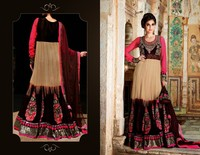 Sensational Net Beige Patch Work Wedding Anarkali Salwar Kameez