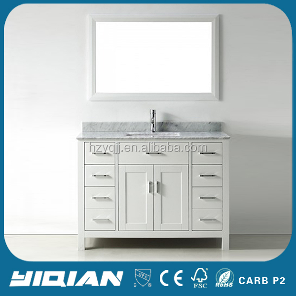 American Carrara Marble Counter Tops Wood Vanity Modern Bathroom Vanity with Mirror