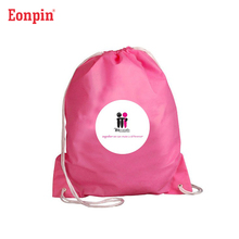 Custom pink purple color drawstring bag pull string bags