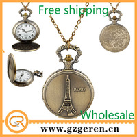 2014 Free ship Hot Sale China Products Alibaba Wholesale Checkout Online Hot Gift Men Bronze Paris Eiffel Tower Pocket Watches