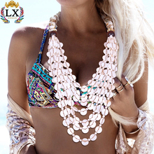 NLX-00874 natural pearl shell jewelry necklace multi layered bohemian beach style sea shell ethnic jewelry