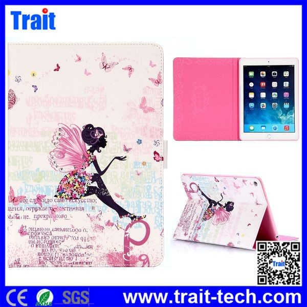 2015 New fashion Magnetic Buckle Cute Girl Diamond Studded Leather Case for iPad Air2