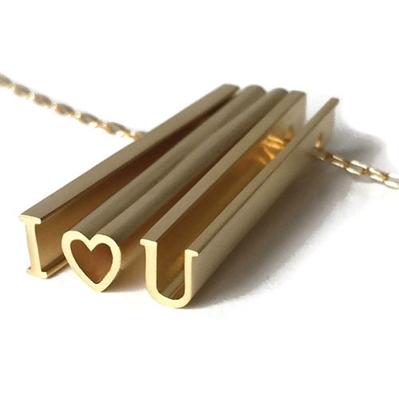 custom 3D Hidden Message Necklace with Long Bar Letter Pendants love words necklace