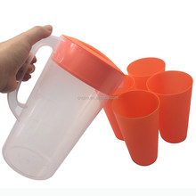 2L pp plastic cheap juice Pitcher set with lid and 4 cups