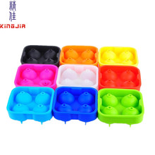 Amazon hot FDA approved food grade non-stick various color 4 x 45mm sphere ice ball maker silicone ice mould
