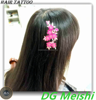 Rosy gold neon pink flowers temporary hair accessory tattoo