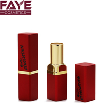 cosmetic packaging square shape aluminum red new arrival makeup lipstick tube