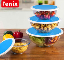 4 pcs set large size kitchen glass salad mixing bowls with lid
