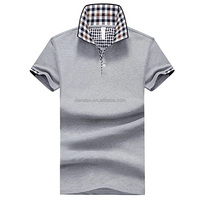 men pure cotton contrast check collar leisure fashion polo shirt