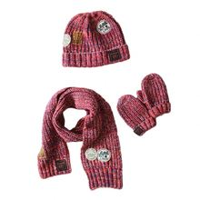 2016 newest winter kids baby knitted hat scarf gloves three-piece paternity mixing set