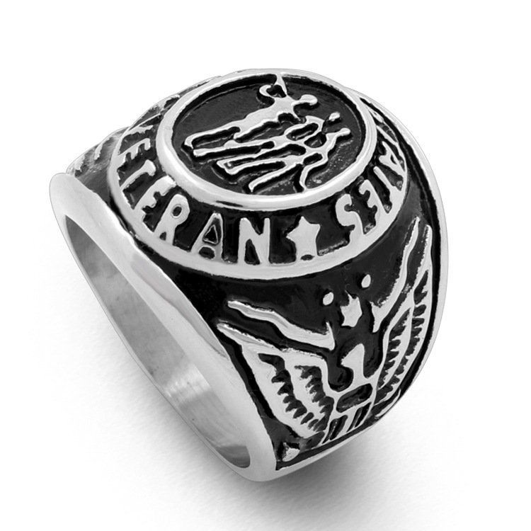 Europe army veteran American troops hipster brothers logo casting ring, the double eagle men's rings YSS719