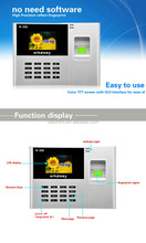 "Free Software 2.4"" TFT Color Screen Biometric Fingerprint Time Attendance With TCP/IP N308"