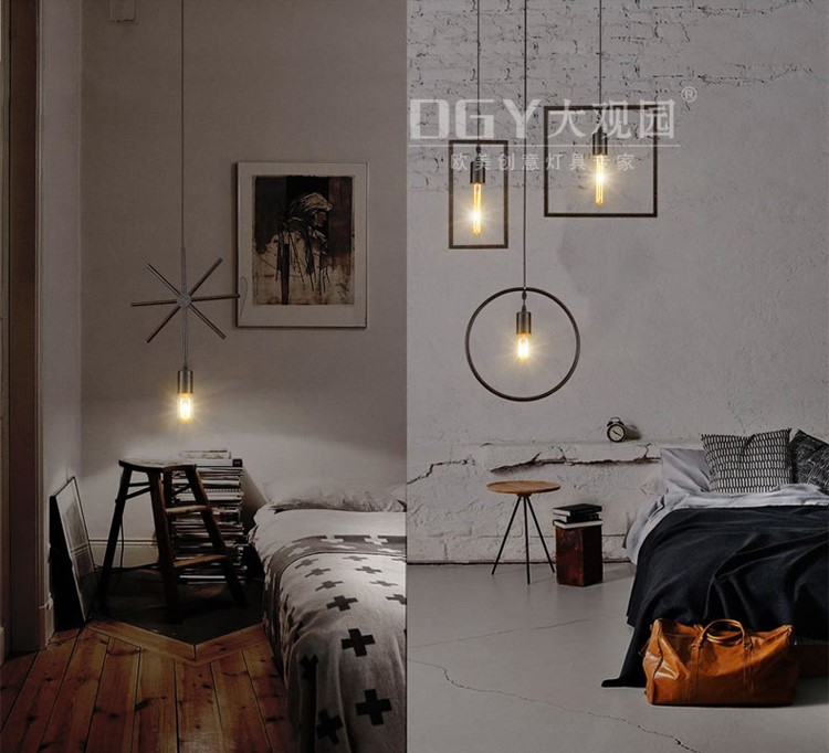 Geometry shape wrought iron chandelier innovative bedroom modern lights vintage cross shape pendant lamp