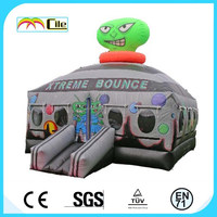 CILE Stylish Green Face Alien Inflatable Castle Bounce Air Toy for Kids with CU/UL Blower