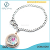 Silver stainless steel Cuban Chain with 316l stainless steel rose gold locket bracelet