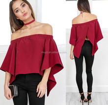 L0915A Summer Fashion Women Casual Loose Blouse Ladies Sexy Long Sleeve Women Off Shoulder Tops And Blouses