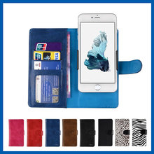 Slider Card Slots PU Leather Phone Case For iPhone 6S Plus Smartphone