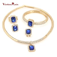 WesternRain 2016 new arrival fashion jewelry set fashion costume african blue jewelry set