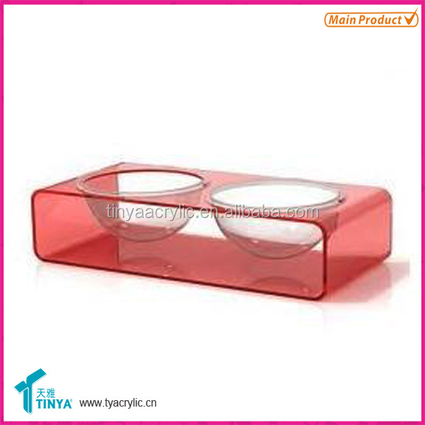 Plexiglass pet feeder 2 bowls luxury dog bowl durable cat bowl