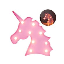 Wholeslae battery operated cute unicorn 3D night light with 10 LED beads