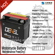 Motorcycle battery/dirt bike parts & accessories cheap motorcycle parts importers 12V YTX5L-BS