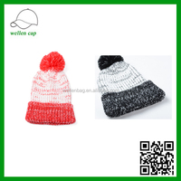 Fall and winter color mixing hair ball knitted hat, warm wool cap