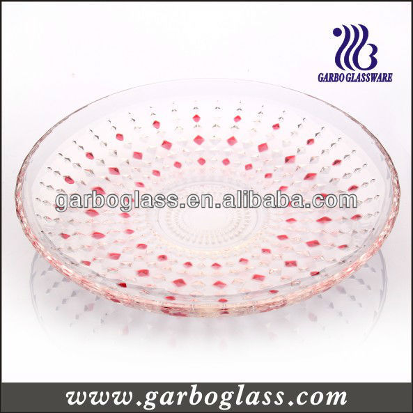 13'' red color glass diamonds plate,red clear glass plates