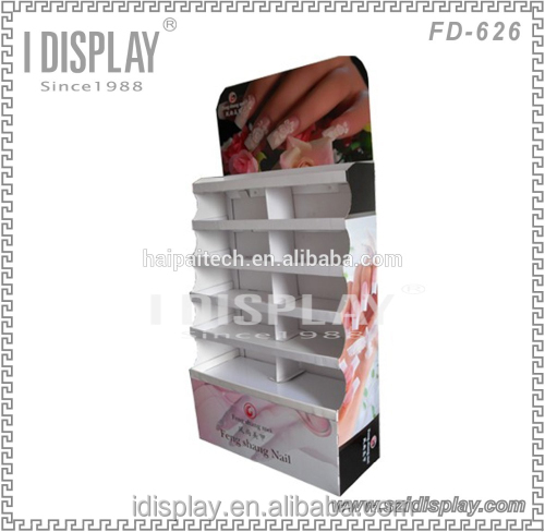 Custom made cardboard free standing opi/essie nail polish display rack