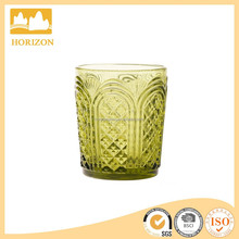 hot selling green color glass embossed stemless tumbler glass water cup