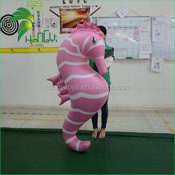 Hongyi Customized Inflatable Sea Horse Shape with LED light for Festival