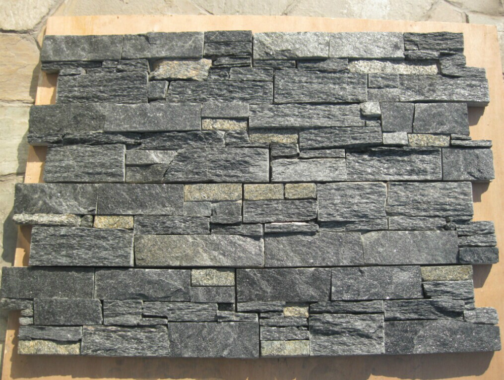 Eco-friendly Natural Black Quartz Shower Stone Wall Panel