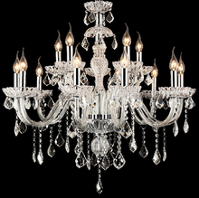 Hot sale classic style crystal chandelier, hanging candle light with crystal pendants