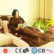chocolate fleece wearable electric heating throw with zipper 120x188cm snuggie sleeve blanket
