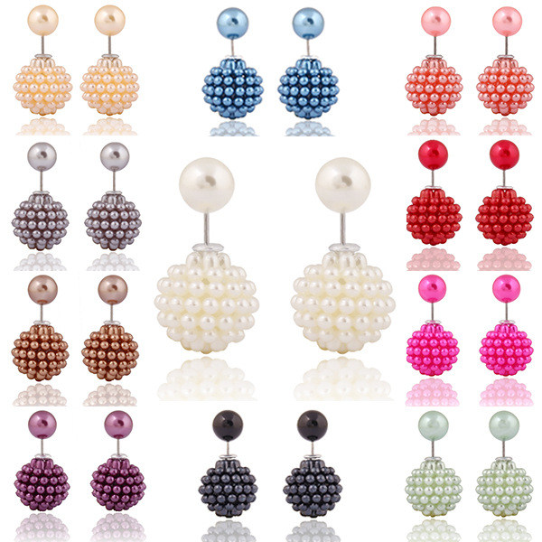 Lady's Fashion Earring Metal Crown Double Pearl Back And Front Earring