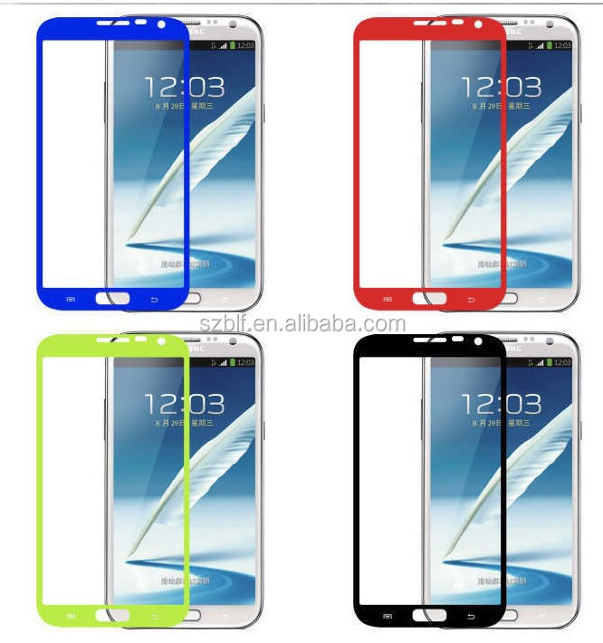 Best sale perfect size 0.33mm 2.5D tempered glass color screen protector for galaxy note 2 samsung N7100