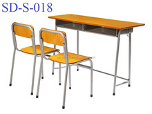 SD-S-018 Wooden Double High School Furniture Classroom Chairs With Table For Student