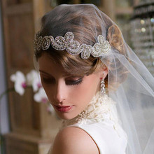 Wedding bridal shower supplies crystal headband attached to the veil