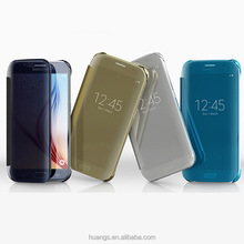 Top Selling Clear View Translucent Flip Electroplating Mirror PC Case for Samsung Galaxy S6 Edge Case
