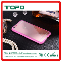 2 in 1 pc tpu phone cover case Soft bupmer tpu frame hard transparent clear PC backside for iphone6