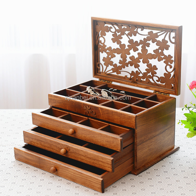 Antique style luxury solid wood jewelry display box, carving wood decorative box, wooden drawer boxes