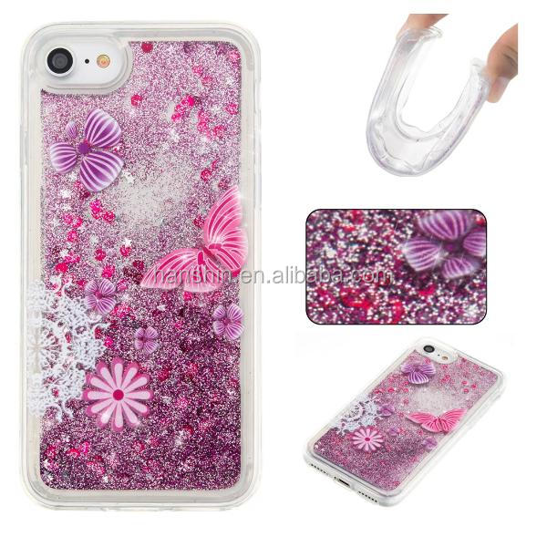 Ultra Thin Glitter Crystal Star TPU Liquid Sand Protective Phone Case For iPhone 7.7plus