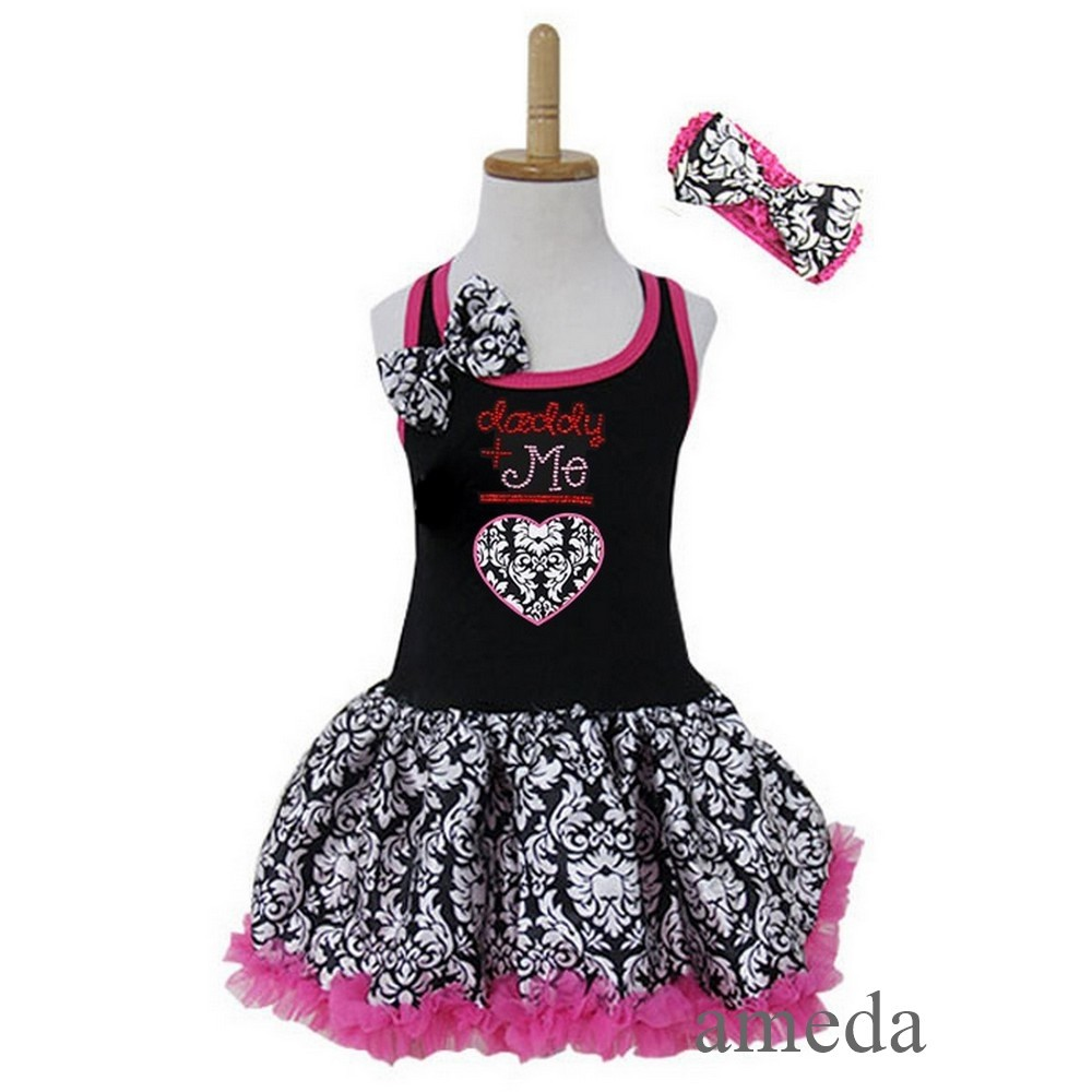 Rhinestone Daddy+Me Heart Black Hot Pink Damask Pettiskirt Party Dress 1-4Y