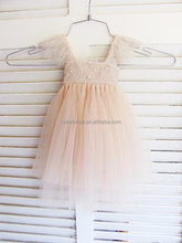 lace cap sleeve Lovely Pink Flower Girls Dresses wholesale china &children wedding dress