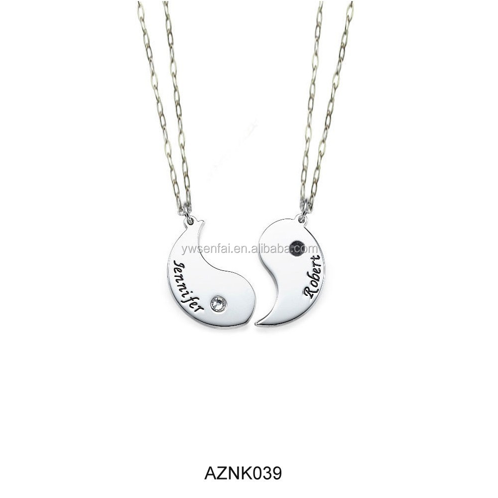 2015 Latest best selling wholesale silver color zinc alloy yin yang necklace for couples