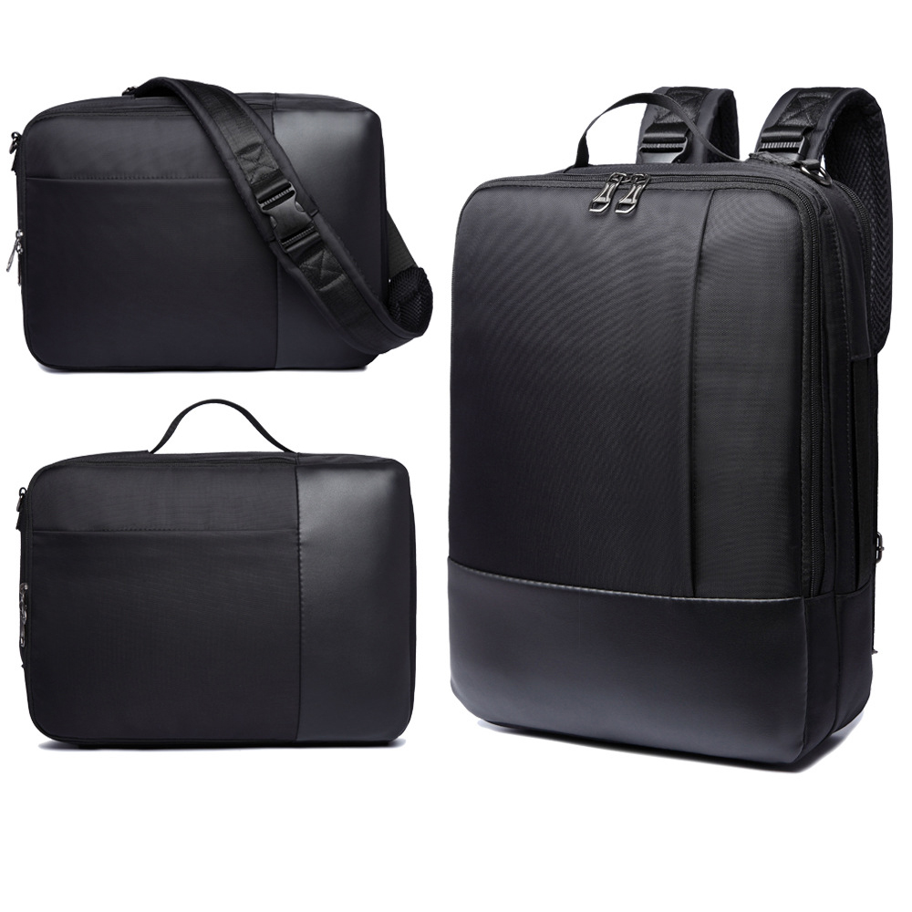 stock 3 in 1 leather laptop bag backpack for travel
