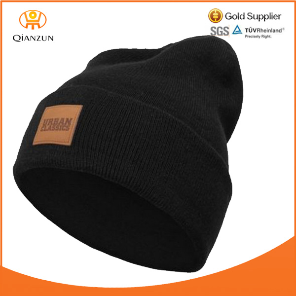 Urban Classics Leather Patch Beanie Winter Wool Cap