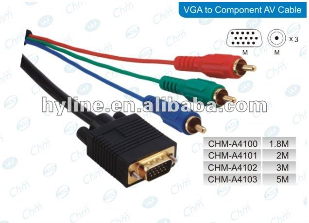 VGA to 3RCA AV Audio Video M/M Cable, vga to rca cable ,