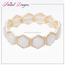 2017 new gold jewelry design colored resin elastic bracelet for women
