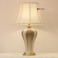 Porcelain vase light ceramic modern fabric lampshade for hotel project restaurant table lamp